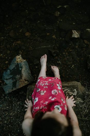 Dipping her toes Low Section One Person Human Leg Real People High Angle View Human Body Part Women Outdoors Leisure Activity Nature Day People Adults Only Adult Resist