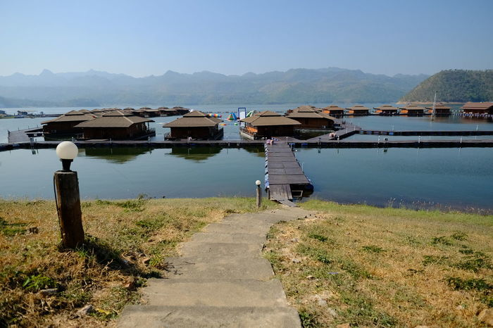 Clear Sky Nature Water Outdoors Landscape Nature Day Floating House Bridge - Man Made Structure Beauty In Nature No People Mountain