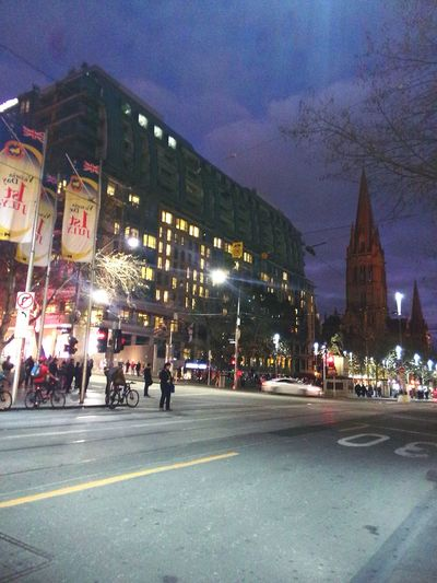 Swanston St #Melbourne Night Photography Traveling Walking Around Buildings & Sky Street Lamp