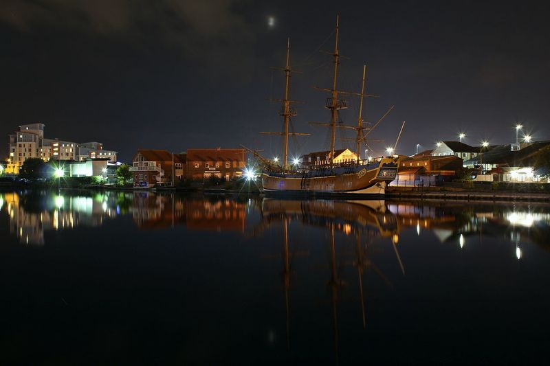HM Bark Endeavour Stockton On Tees Architecture Building Exterior Built Structure City Harbor Illuminated Mast Moored Nature Nautical Vessel Night No People Outdoors Reflection Sea Shipyard Sky Travel Destinations Water