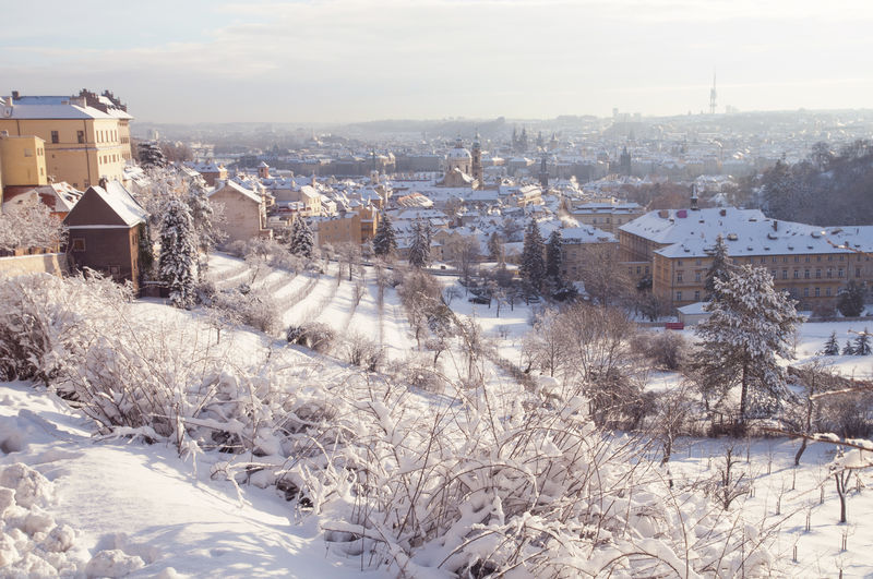 High angle view of snow covered buildings in city