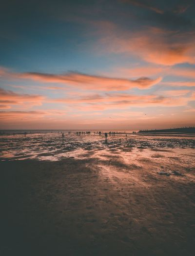 Sunset Sea Water Sky Sunset Scenics - Nature Beauty In Nature Cloud - Sky Beach Land Tranquility Tranquil Scene Nature No People Horizon Horizon Over Water Idyllic Dusk Outdoors Dramatic Sky