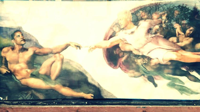 Wild things you see in the city... 😄 Michaelangelo Sistine Chapel  Presidential Creation Of Adam
