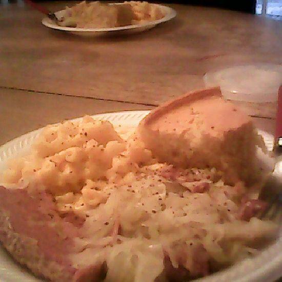Cornbeef Cabbage Macaroniandcheese Cornbread My Uncle made us dinner!!! :D