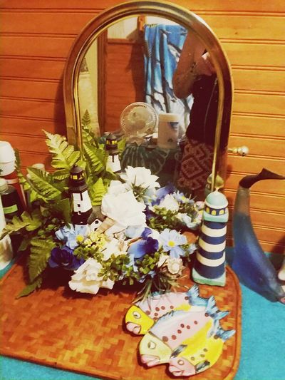 In door shower room display. light house, flowers sea creatures, Flower Decorative Art Vase Flower Arrangement Centerpiece