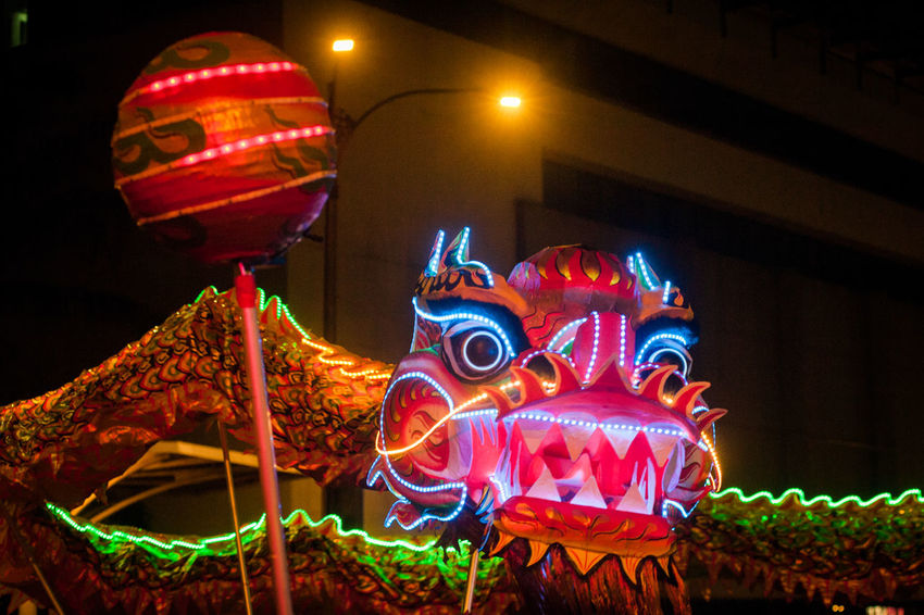 Animal Representation Arts Culture And Entertainment Carousel Chinese Dragon Close-up Dragon Illuminated Low Angle View Night No People Outdoors Sculpture