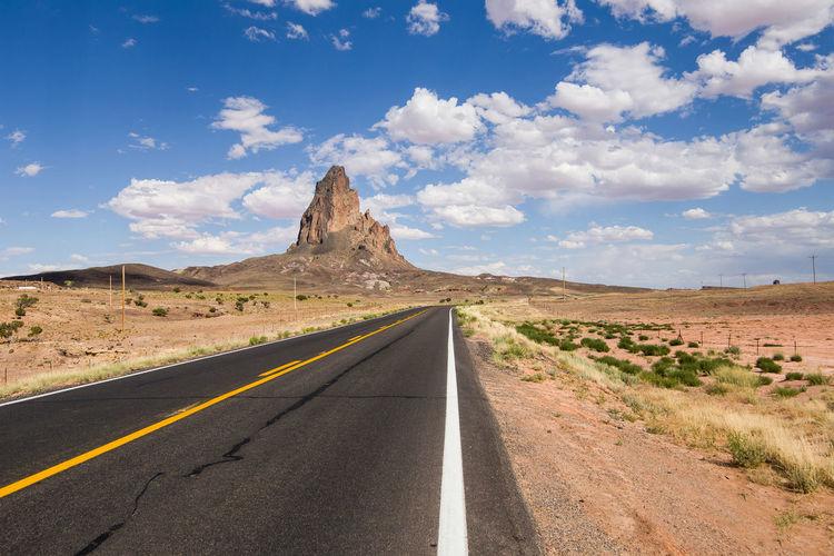Beautiful view along the historic route 66 in arizona on a beautiful hot sunny day with blue sky