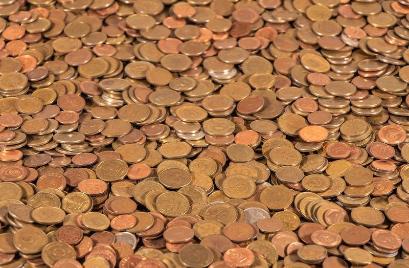 Full frame shot of coins