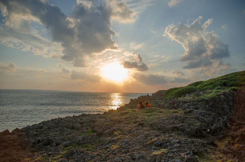 Beauty In Nature Cape  Cloud - Sky Girls Horizon Over Water Japan Landscape Miyakojima Nature Outdoors Rocks Sea Sky Sun Sunbeam Sunlight Sunset Vacations Naturelovers Sea And Sky Travel Travel Destinations Travel Photography My Year My View
