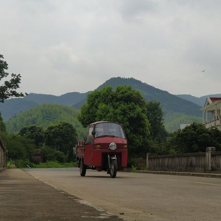 TukTuk Mountains Happiness Clouds China Moganshan Village Culture Red Transportation Outdoors Day Rural Scene No People Nature Architecture Sky