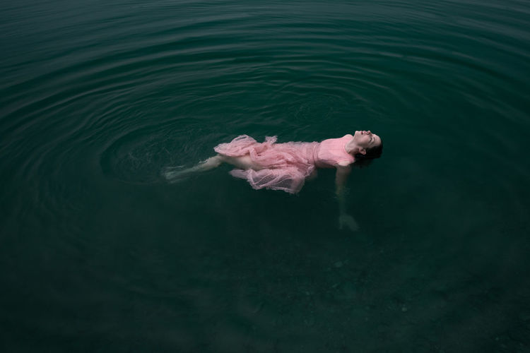 Floating 10-18mm Dress Fine Art Photography Natural Beauty Natural Light Blue Canon Canon EOS 750D Female Fine Art Floating On Water Lake Light Pink Nature Outdoors Sensual_woman Simplicity Swimming Vintage Water Woman In Water