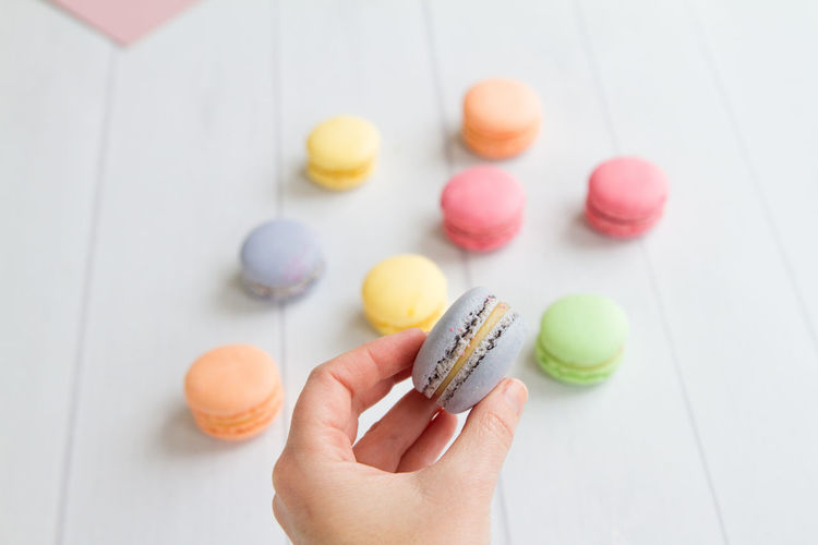 Close-up of hand holding macaroons