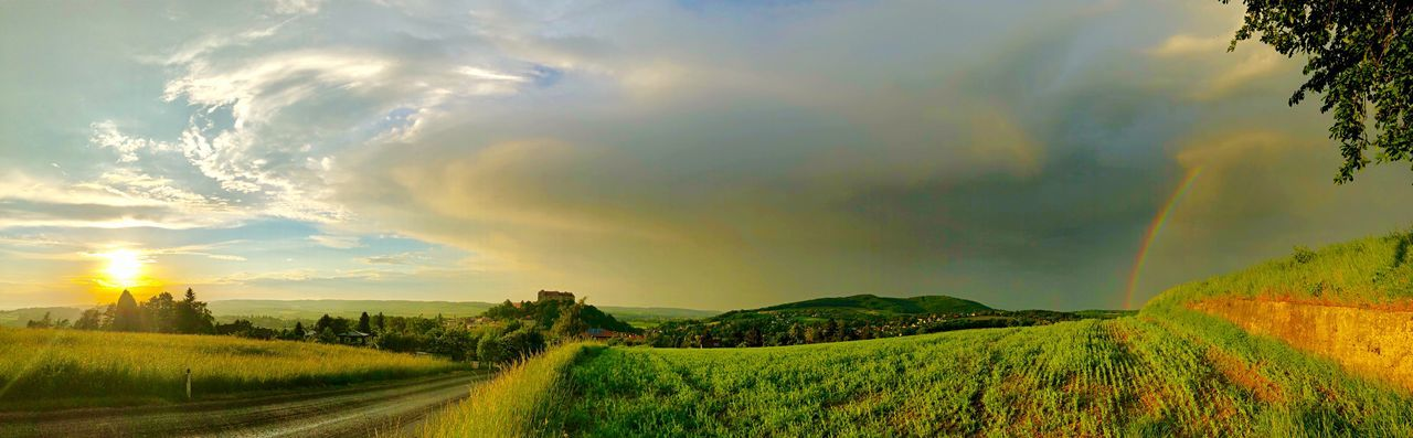 """""""Create a life you don't need a vacation from."""" 🤗 🌈☀️😎✌️ Loweraustria Wienerwald  Iphonephotography Landscape_photography Ilovenature Landschaft Panorama Viewpoint View Road Castle Rainbow Clouds Trees Beauty In Nature Sky Scenics - Nature Landscape Plant Tranquility Field Land Tranquil Scene Rural Scene Nature No People Agriculture Idyllic Sunset Green Color The Great Outdoors - 2018 EyeEm Awards"""