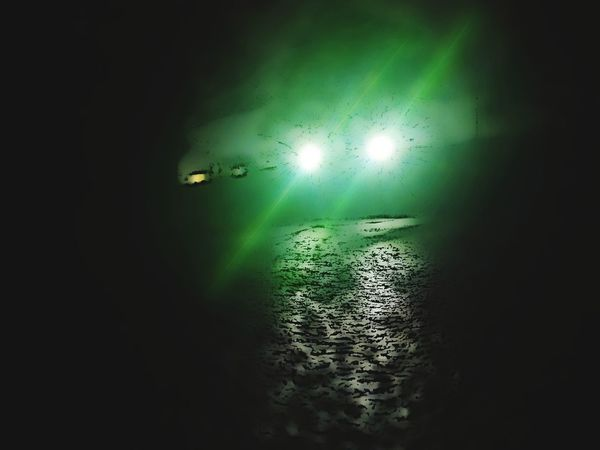 Forest Spirit Green Ghost Car Headlights At Night Coming Toward You Illuminated Water Nightlife