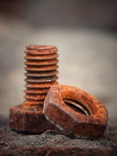 Close-up of rusty nut and bolt