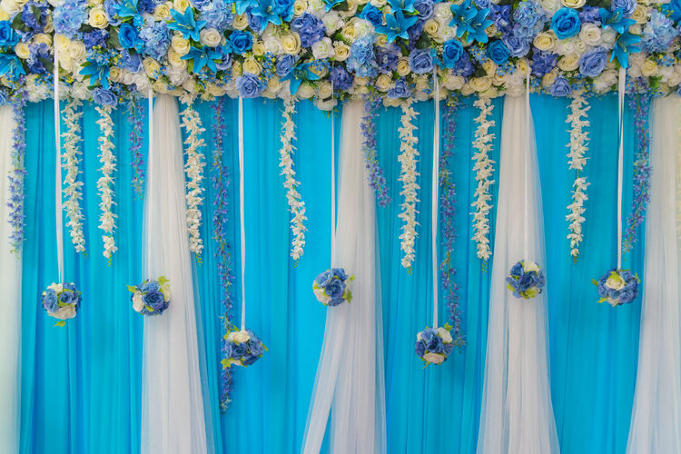 Flowers decorated at wedding banquet