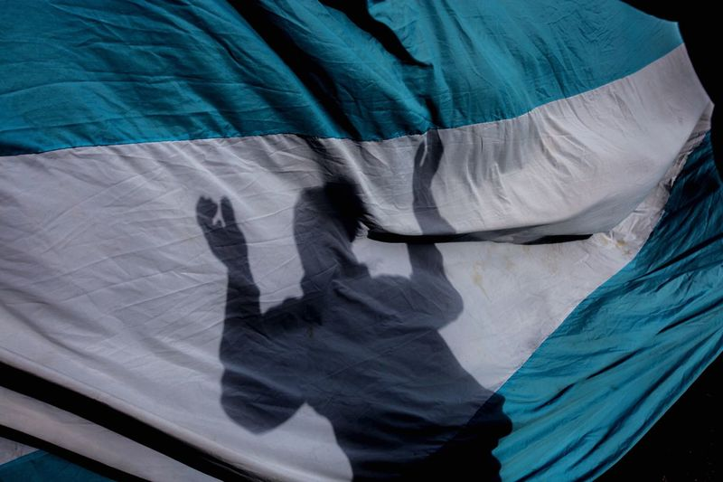 Argentina Photojournalism Argentine Strike! Manifestation Shadow Flags In The Wind  Economy Macri Crisis Argentina Full Frame Backgrounds