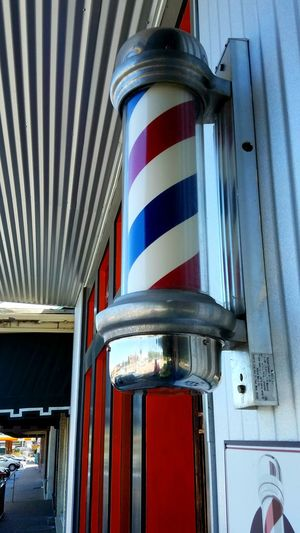 Barber Pole Striped Architecture Close-up Red Street Fun Freshness Angle White Copy Space Blue Artistic The Architect - 2017 EyeEm Awards The Street Photographer - 2017 EyeEm Awards Building Exterior Architecture Pattern Red Barber Shop Timlessness Reflection Depth Of Field Colorful