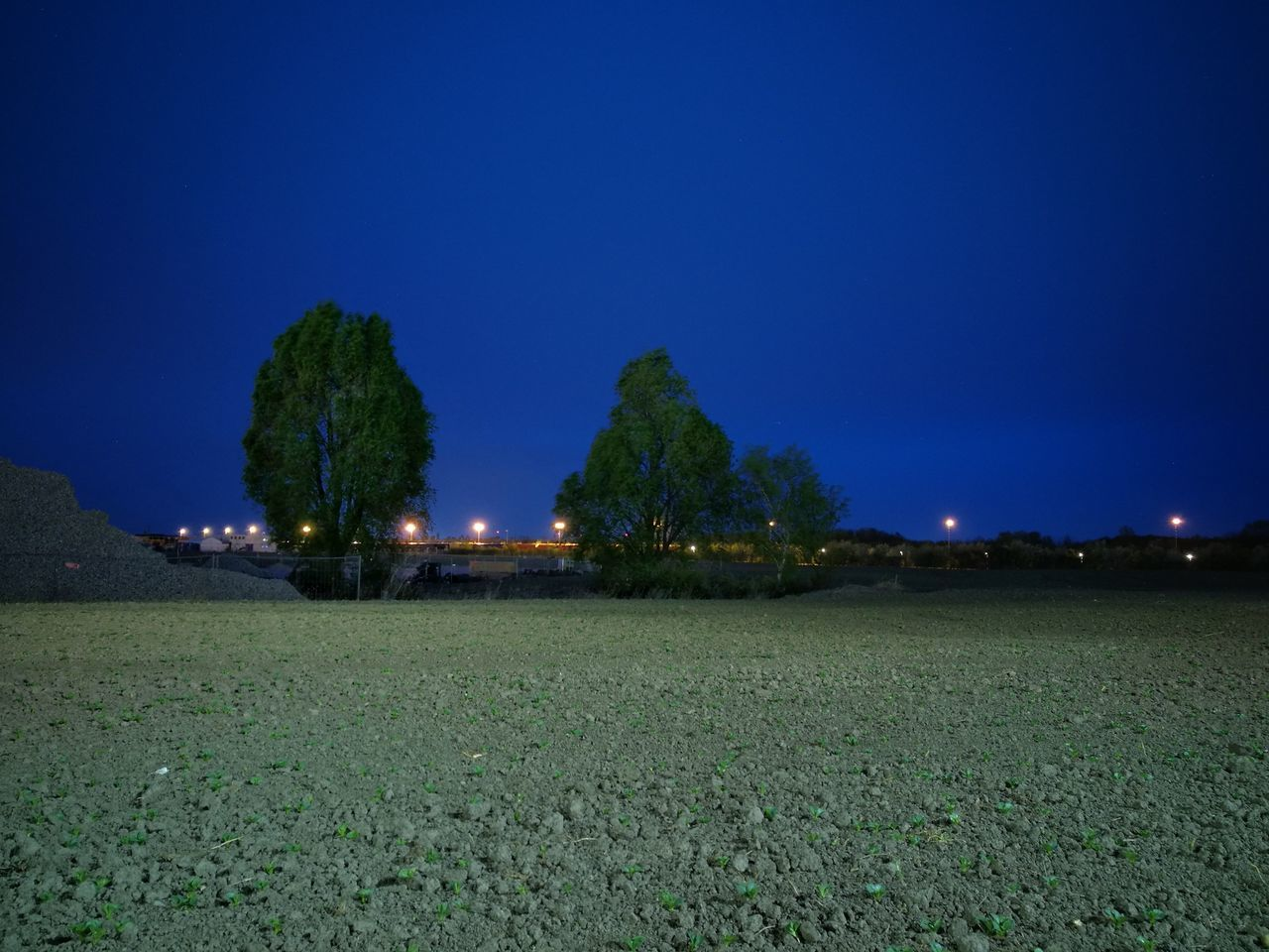 field, tranquility, nature, blue, tranquil scene, landscape, no people, clear sky, beauty in nature, scenics, night, outdoors, tree, growth, grass, sky