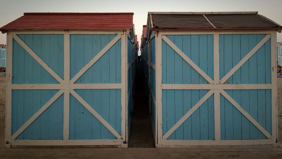 Seaside Sea Huts Sunset Two Is Better Than One Outdoors Day Close-up Geometric Shapes Light Blue