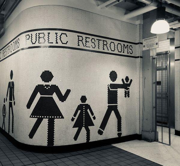 Public Places Bathroom Seattle Pike Place Market Tiles Public Black And White