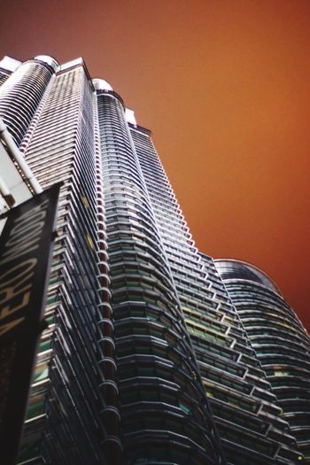 Klcc twin tower Architecture Skyscraper Modern Building Exterior Built Structure City Low Angle View Outdoors Sky Tall Day No People Growth
