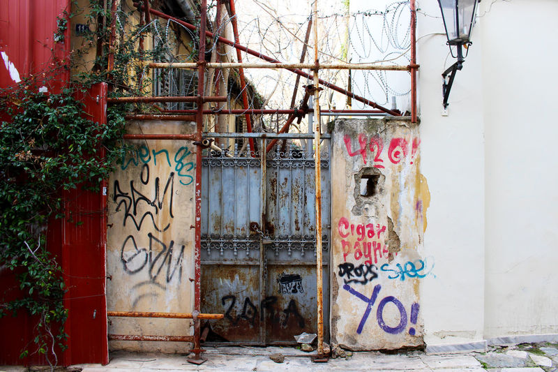 Athens Athens, Greece Barbed Wire Building Exterior City Day Entrance Façade Gate Graffiti Greece No People Plaka Urbanphotography