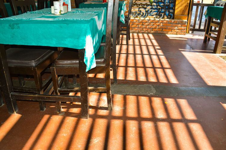Shadows Shadows On The Floor Shadows & Lights Tables And Chairs Built Structure Pattern Architecture Low Angle View Minimalism Sunlight Abstract City No People
