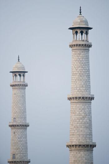 Low angle view of tower at taj mahal
