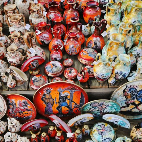 High angle view of decoration equipment for sale at market stall