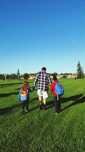 Back to school Backtoschool 1stDayOfSchool Fall2015 Kids Walkingtoschool  WithDaddy Lovemyfamily