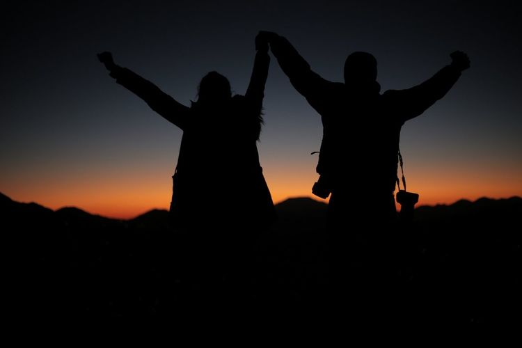 Silhouette Sunset Togetherness Adventure Bonding Landscape Beauty In Nature Nature The Great Outdoors - 2018 EyeEm Awards