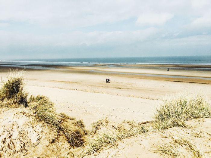 Holkham Holkham Norfolk Peaceful Bleak People Sand Dunes Sand Vast Big Sky Beach Sky Land Water Sea Beauty In Nature Scenics - Nature Tranquil Scene Sand Idyllic Marram Grass Nature Cloud - Sky