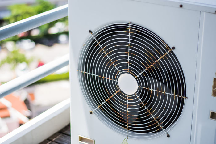 Air condenser. Air Air Conditioner Blower Circle Close-up Condenser Condition Conditioner Cooler Day Electric Fan Electricity  Equipment Fan Focus On Foreground Industry Machine Machinery Metal Modern No People Steel Technology Vent Ventilation