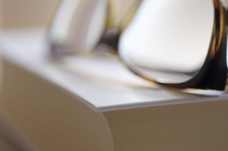 Close-up of open book on table