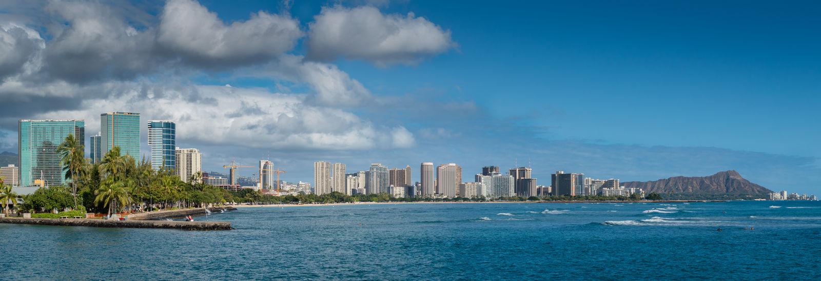 Ala Moana Blackandwhite Blue Sky Cityscape Cityscape Cityscapes Diamond Head Diamondhead Ocean Outdoors Panorama Panoramic Photography Sky Tower Waikiki Water Waterfront