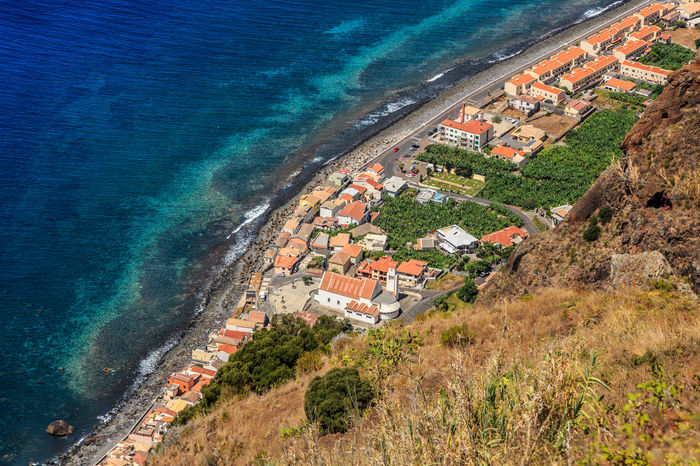 Madeira Island Paul Do Mar Architecture Beach Blue Building Exterior Built Structure Day High Angle View Horizon Over Water Nature No People Outdoors Roof Sea Water Wave