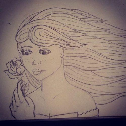 AISummer2014 Drawing Sketch Sketchbook pencil paper pencildrawing girl hair freckles rose linework art wip flower