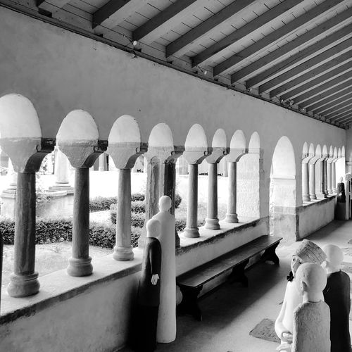 Low angle view of colonnade in building