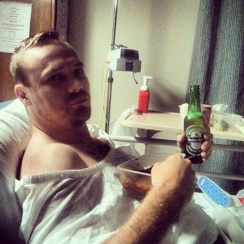 Medicating Hospital Brokenleg Beeristheonlymedicine beer ktm dirtbike crash 300exc endone morphine pleasenurse thanks for the beer @billy_hnr