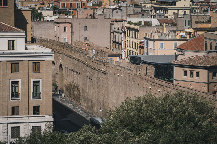 Vatican walls and walkway to castel sant'angelo, rome
