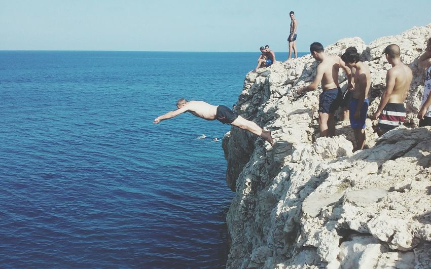 Cliff Diving Island People Sea Cliff Jumping Sky Horizon Over Water Cliff Jumping Adventure