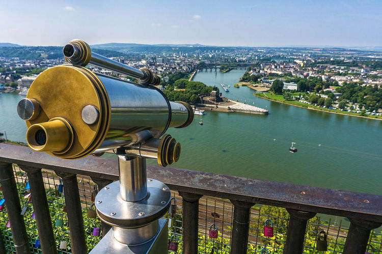 Deutsches Eck Coblenz Deutsches Eck Koblenz Mosel Mosel River In Germany Rhein Architecture Built Structure City Cityscape Coin-operated Binoculars Deutsches Eck No People Observation Point Outdoors Surveillance Telescope Travel Destinations