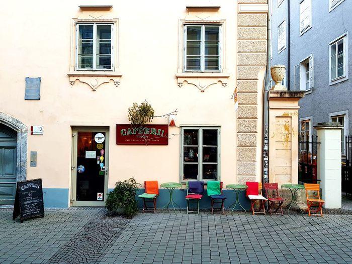 Sidewalk cafe in city