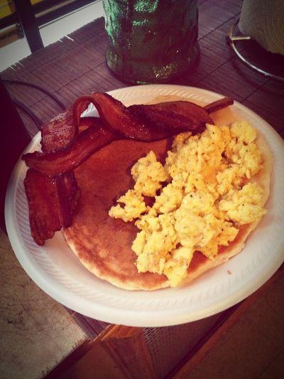 Breakfast Pancakes Eggs Bacon Maple Syrup Yummy♡ Yummy Delicious Breakfast ♥ Cheflife