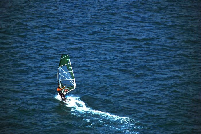 Adventure Aquatic Sport Balance Beauty In Nature Day Extreme Sports High Angle View Leisure Activity Lifestyles Men Motion Nature One Person Outdoors Paddleboarding Real People Sea Skill  Sorrento, Italia Sport Surfing Vacations Water Waterfront Weekend Activities Windsurfing