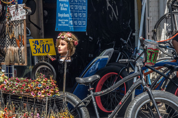 Bicycle California Flowers Junk Mannequin Signs Storefront Tires