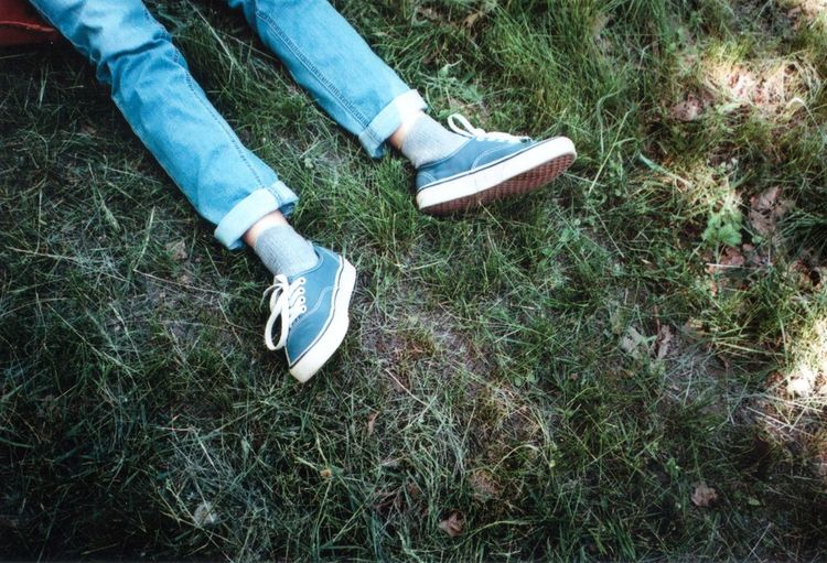 Funny Jeans Moment Olympus Field Grass High Angle View Human Body Part Mju2 Mjuii Nature One Person Outdoors People Springtime Vans