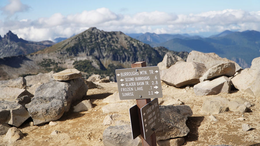 Text on rocks against mountains