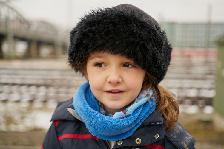 Portrait of cute boy in winter